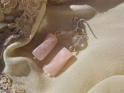 Rose Quartz earrings ~ silver