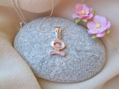 Indalo necklace ~ dancing, small silver + mother-of-pearl, pink