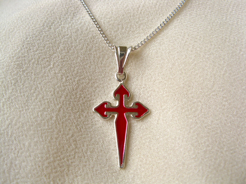 Cross of St James necklace ~ silver, red: Encourage safe travels 00706
