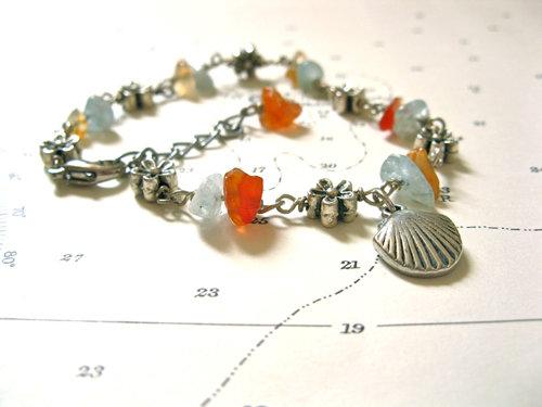 Camino safe travel bracelet ~ aquamarine + agate 01175