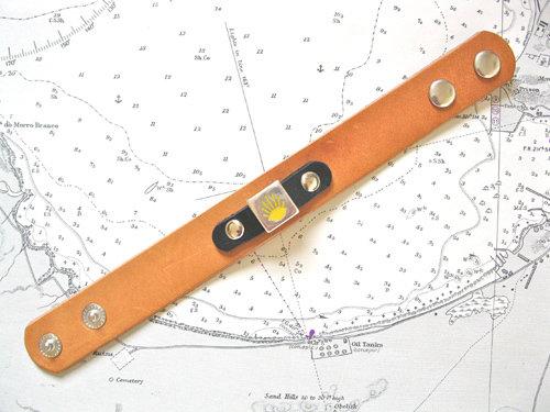 Natural tan & black leather cuff bracelet