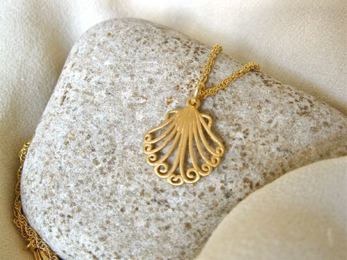 The smaller of the gold plated  scallop shells with hanging ring