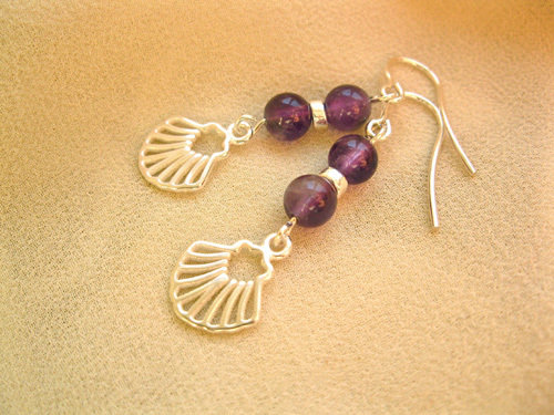 Camino Finisterre earrings ~ amethyst + silver ATA01186