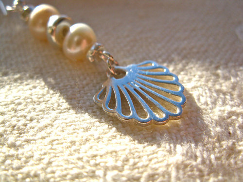 Detail of the  sterling silver scallop shell