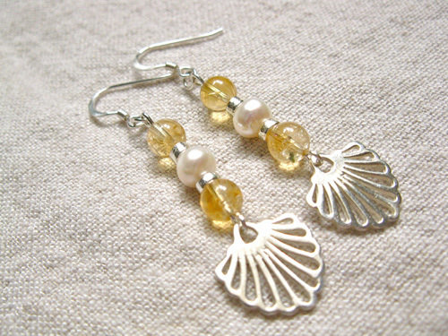 Compostela earrings with citrine + pearl - said to encourage happiness, success, creativity TCG00864