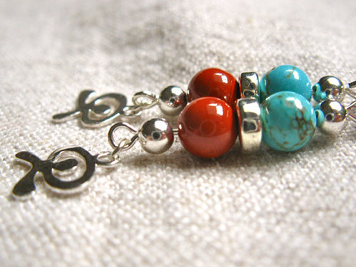 A lovely mix of red jasper contrasting with sensuous turquoise