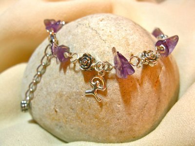 Amethyst charm bracelet + Indalo