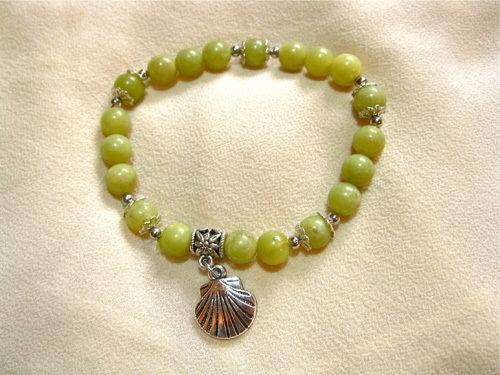 Camino de Santiago safe travel bracelet, jade 01186