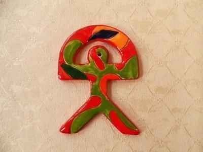 Spanish ceramic Indalo talisman ~ RED