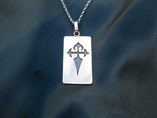 Sterling silver dog tag with Cruz de Santiago popular with pilgrims walking the Way of St James