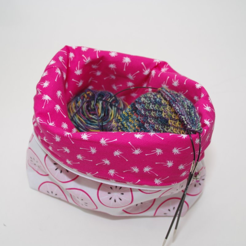 Example: Tall Wedge, Folded open with a sock project
