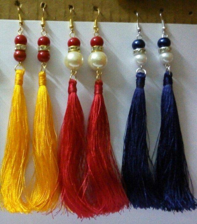 Handmade Silk Thread Earrings Set For Women