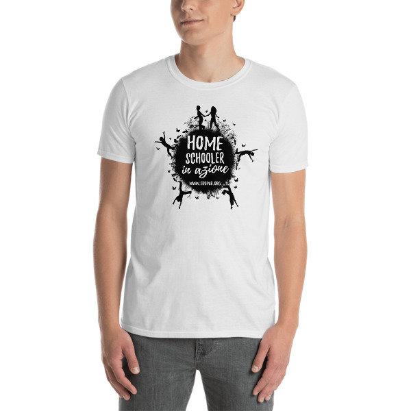"T-shirt ""Homeschooler in azione"" - bianca 00008"