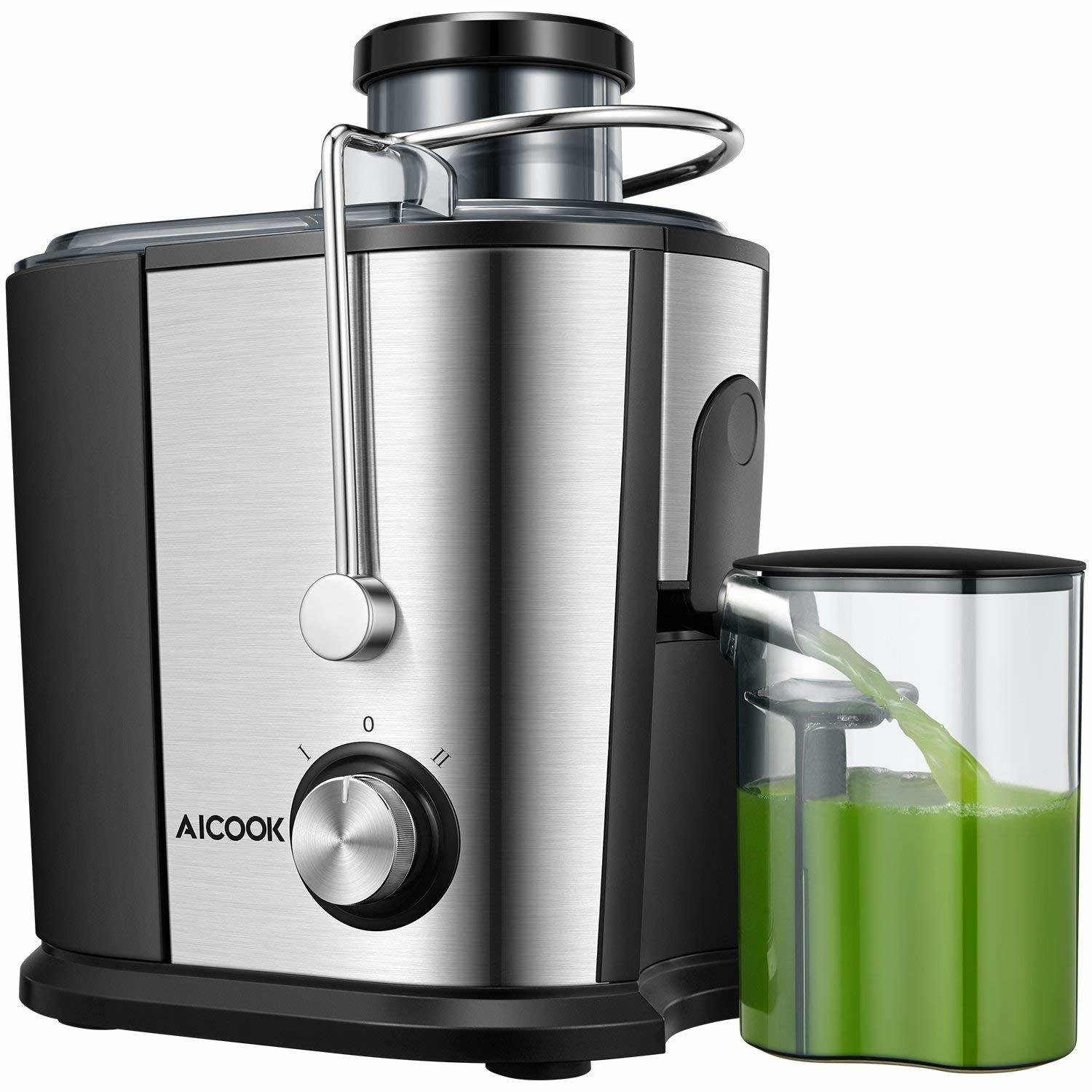 Juicer Compact Juice Extractor, Aicook Wide Mouth Juicer Machine BPA-Free, Dual Speed Setting Centrifugal Juicer with Anti-drip Function, Stainless Steel Juicer