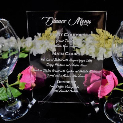 Acrylic Table Menu with Stand