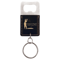 Leatherette Rectangle Bottle Opener Keychain