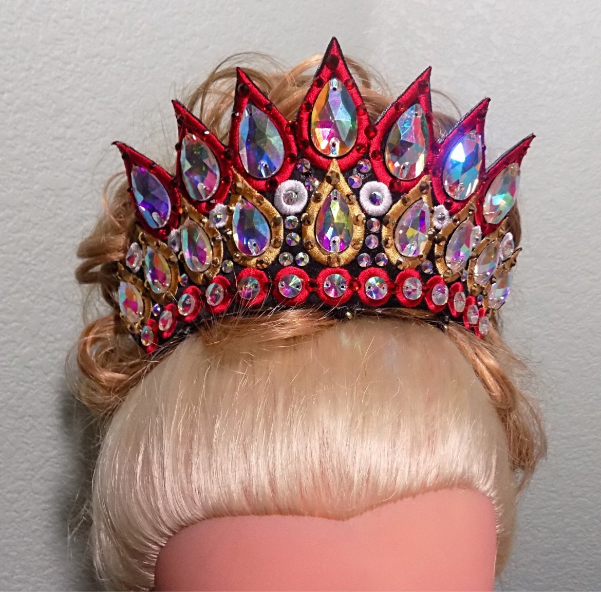 Brianna-  Triple row embroidered rhinestone tiara.