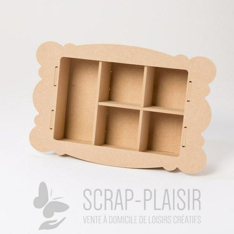 Cadre compartimenté 3D en bois à décorer - 28 cm