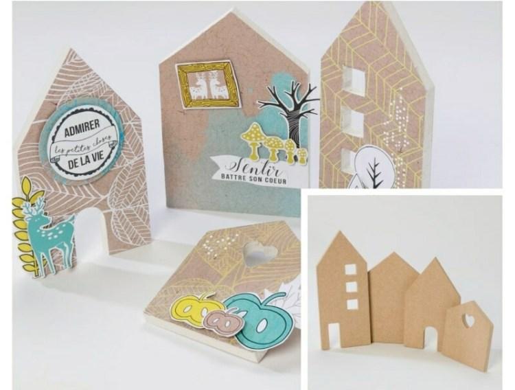 4 façades de maison en bois à décorer - 15 cm
