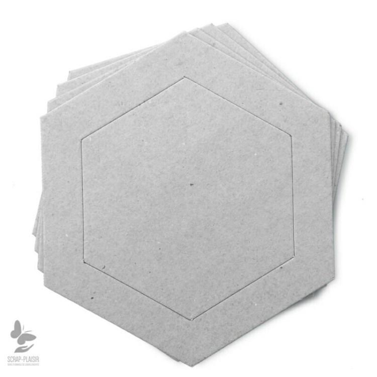 Lot de 8 cadres héxagone en carton à décorer - 14,5 cm
