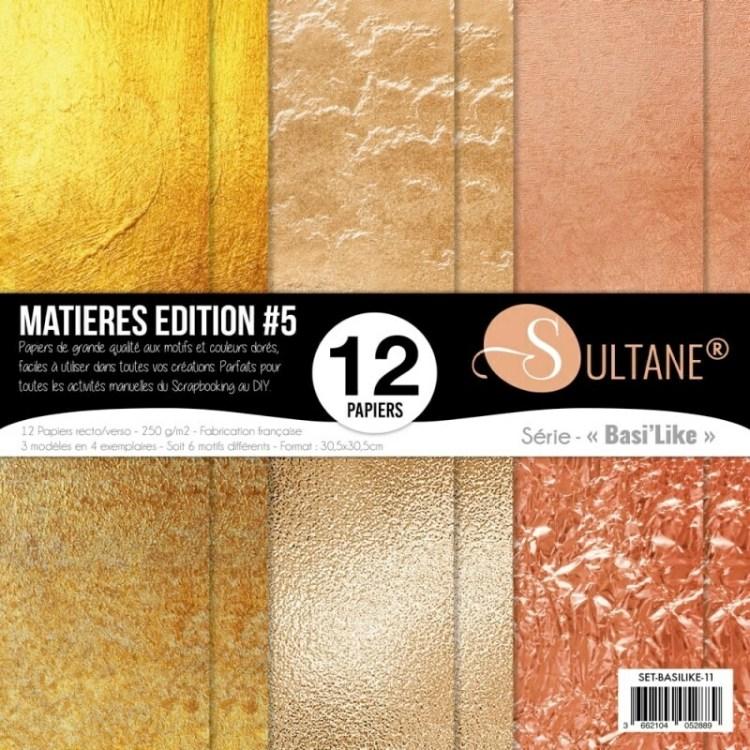 Set de 12 papiers Sultane recto/verso 30,5x30,5 cm - 250 g/m2 - Matières édition 5