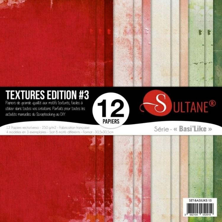 Set de 12 papiers Sultane recto/verso 30,5x30,5 cm - 250 g/m2 - Textures édition 3