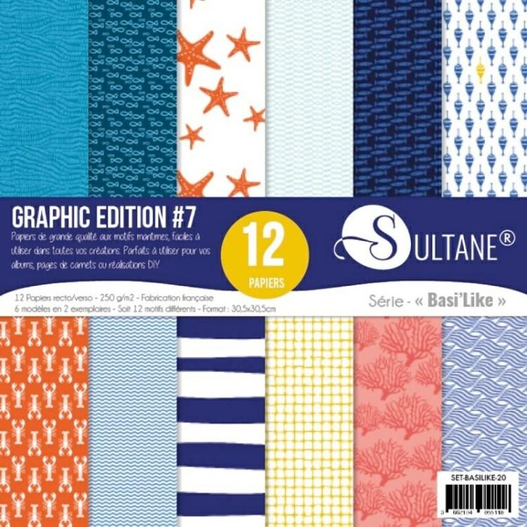 Set de 12 papiers Sultane recto/verso 30,5x30,5 cm - 250 g/m2 - Graphic édition 7