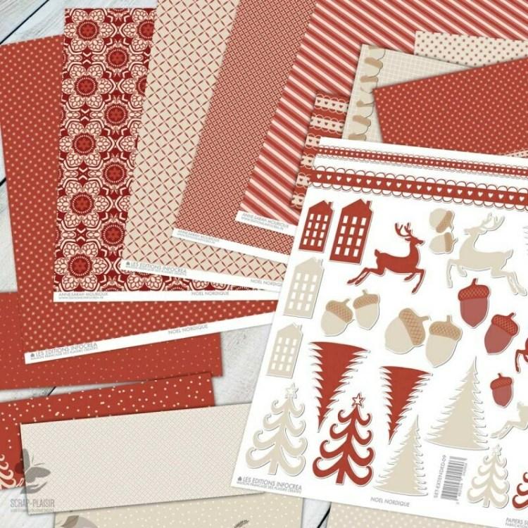 Set de 16 pièces de scrapbooking - Noël Nordique