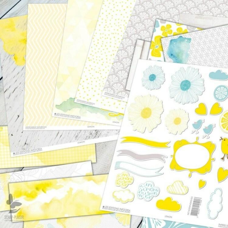 Set de 16 pièces de scrapbooking - Lemon
