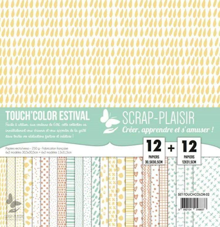Set de 12 papiers recto/verso 30,5x30,5 cm + 12 papiers 12x31,5 cm - Touch'color Estival