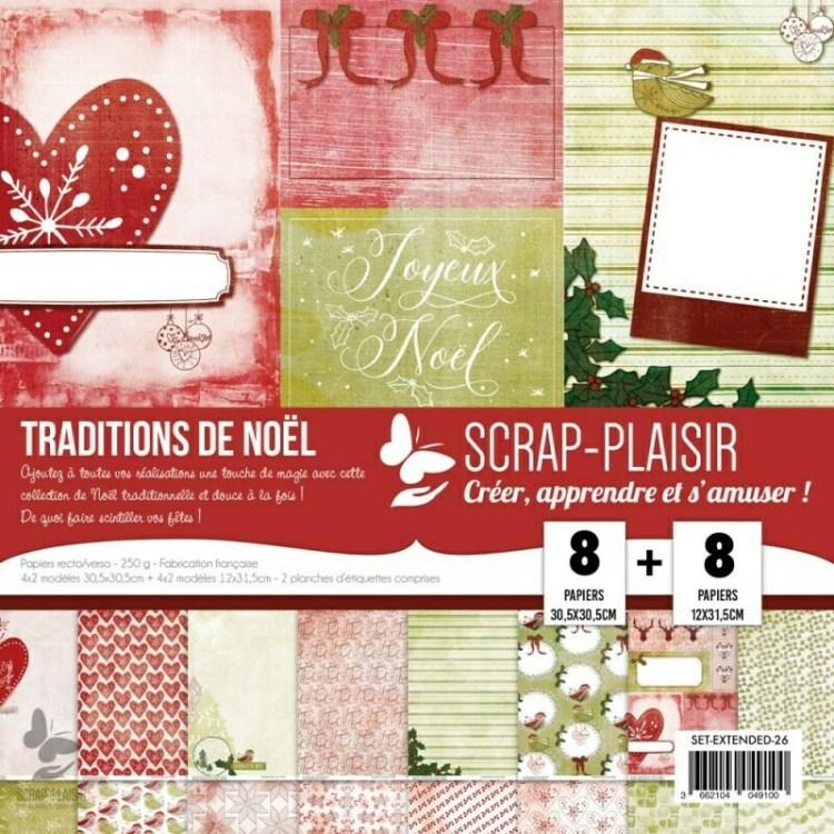 Set de 8 papiers recto/verso 30,5x30,5 cm + 8 papiers 12x31,5 cm - Traditions de Noël