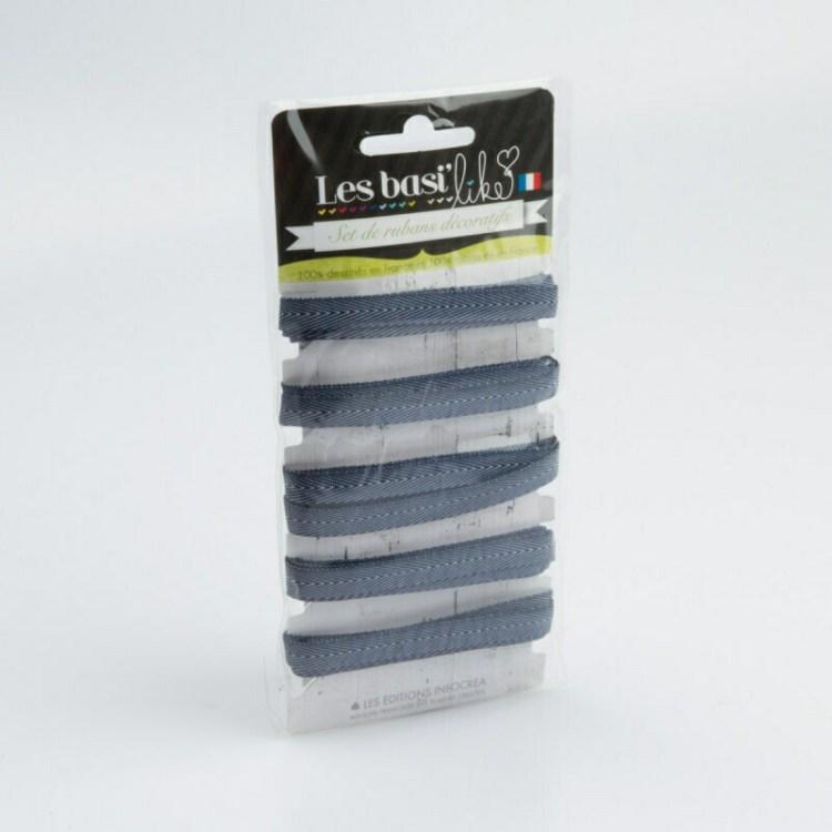 Ruban chevron jean bleu