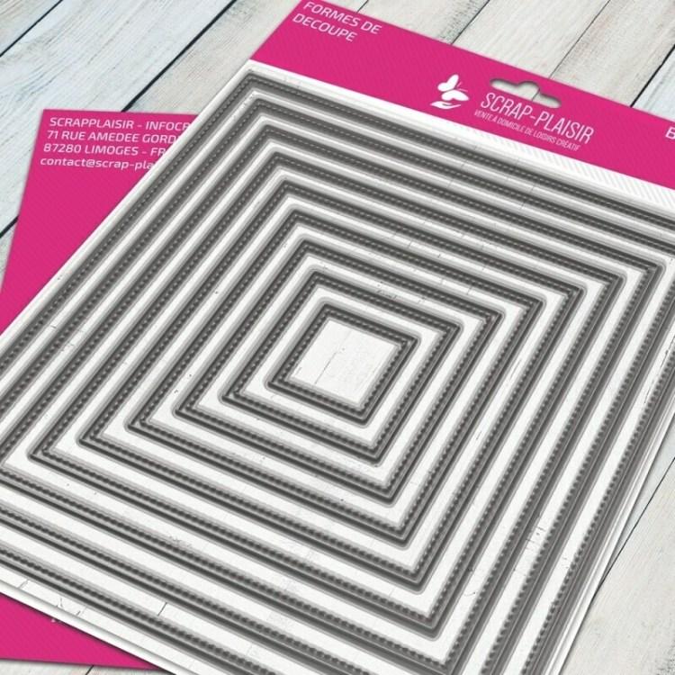 Set de 9 matrices de découpe carré + fausse couture - 14,5x14,5cm