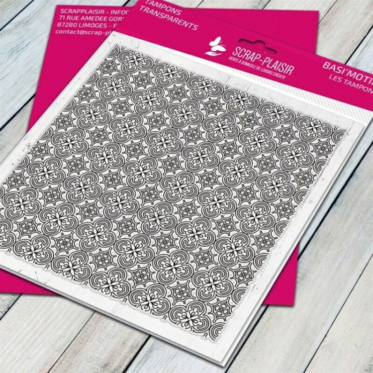 Tampon clear faïence motif 1 - 14,5x14,5cm