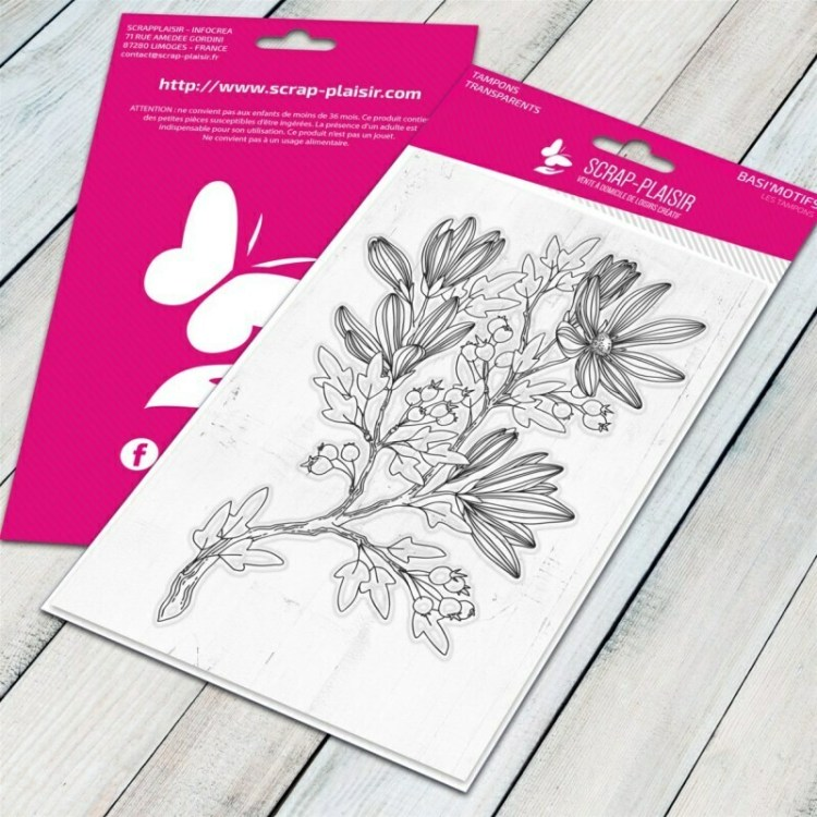 Tampon clear rameau fleuri 2 - 10x15cm