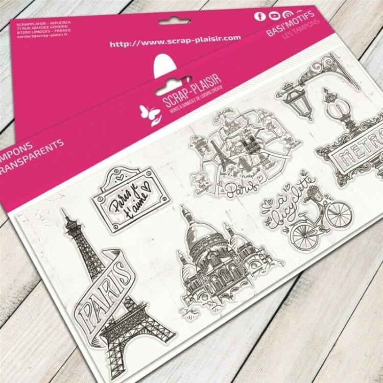 Set de 7 tampons clear balade à Paris - 10x21cm