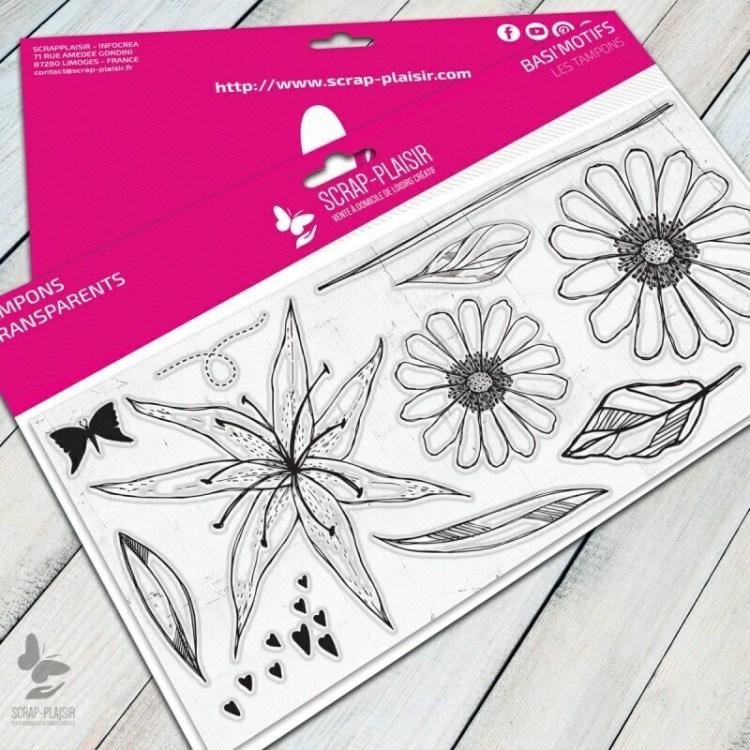 Set de 12 tampons clear fleurs de lys et marguerites - 10x21cm