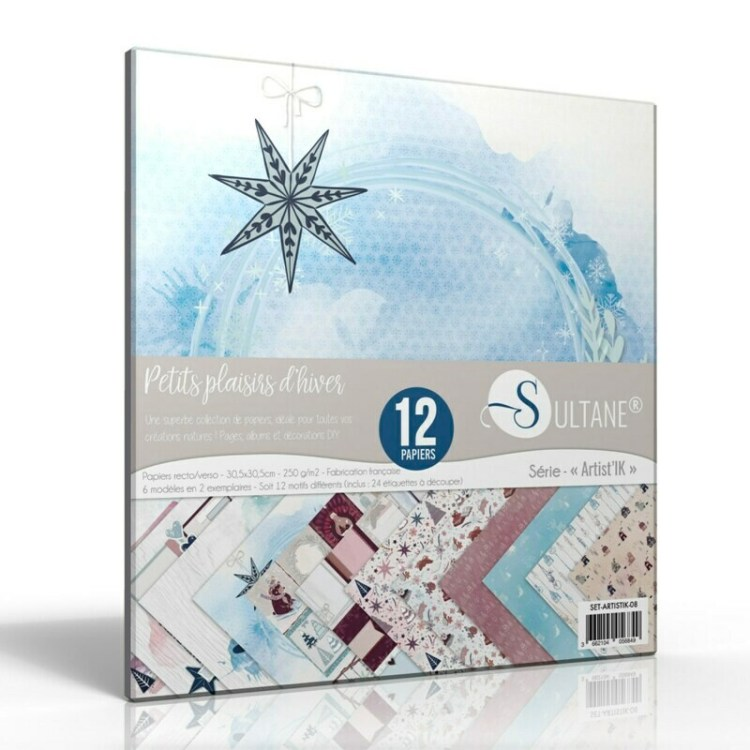 Set de 12 papiers Sultane recto/verso 30,5x30,5 cm - 250 g/m2 - Petits Plaisirs d'Hiver