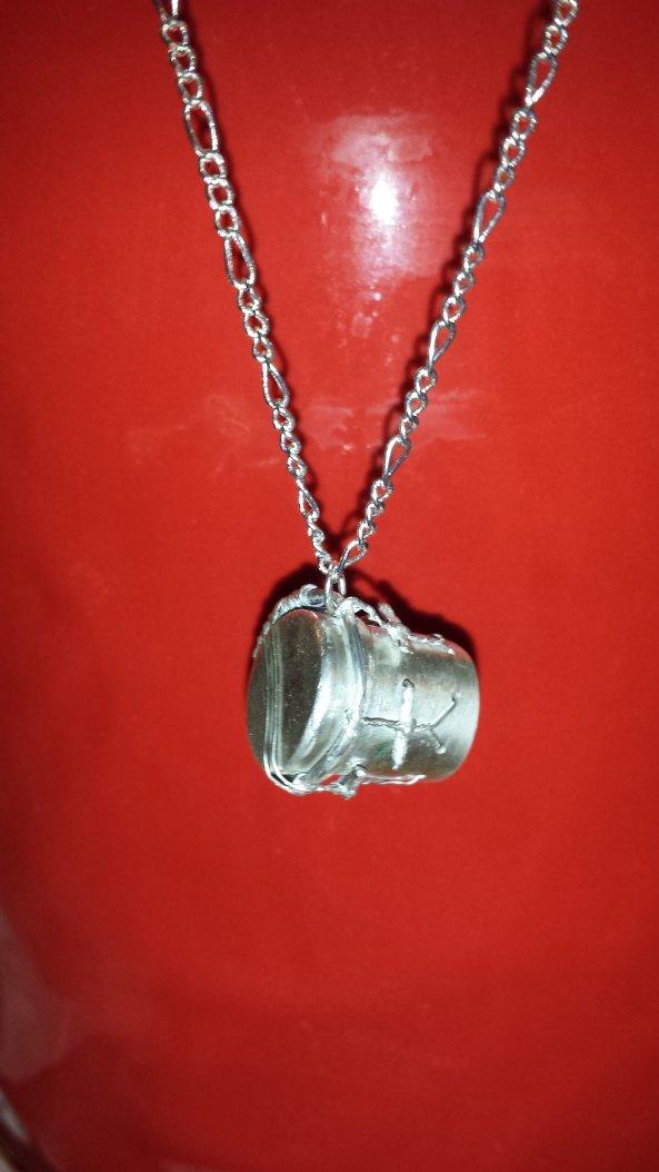 Fine Silver Garifuna Drum pendant and chain 00011