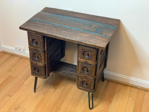 End Table, Barnwood Table, Resin Table Top