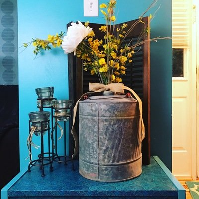 Large vintage oil can, Large metal vase