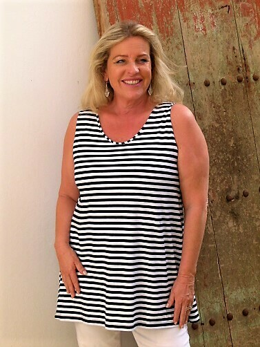Tulip – Classic Stripe Cotton Sleeveless T-Shirt Navy/white