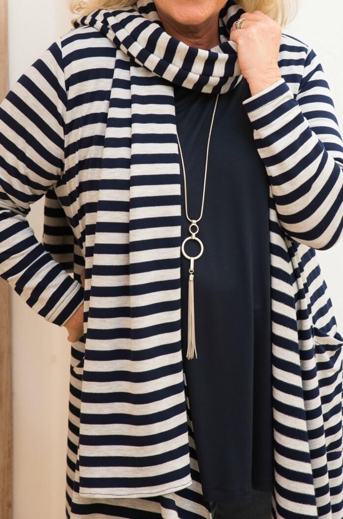 Sandia - Knitted Jersey Stripe Scarf