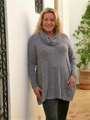 Tuhina - Rib Soft grey Knitted Tunic