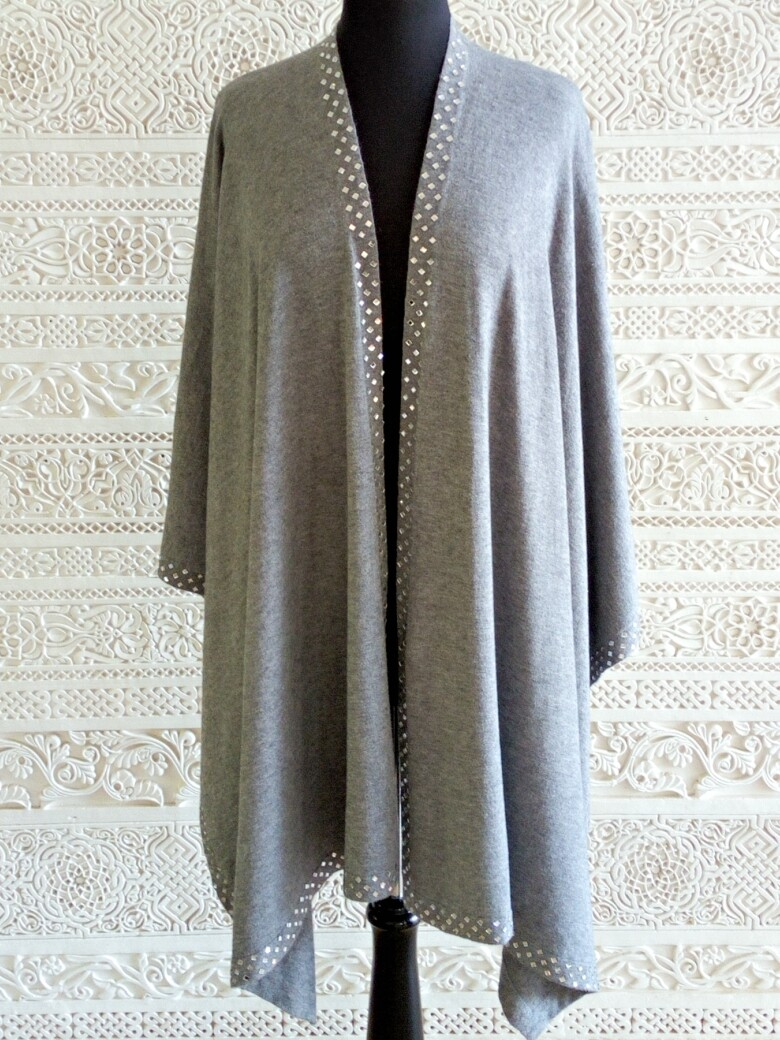 Shezan -Luxurious knitted grey shawl with an embellished crystal trim