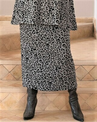 Shana - Leopard Print Jersey Jaquard Skirt