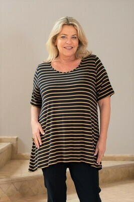 Terema -Short Sleeve Stripe Jersey Top