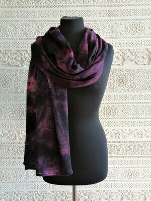 Suzie - Purple Tie Dye Print Wide Scarf