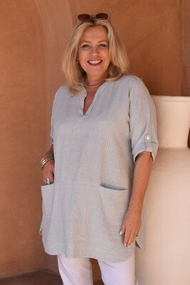 Tiffany - Linen-blend Tunic top with 3/4 turn back sleeves.