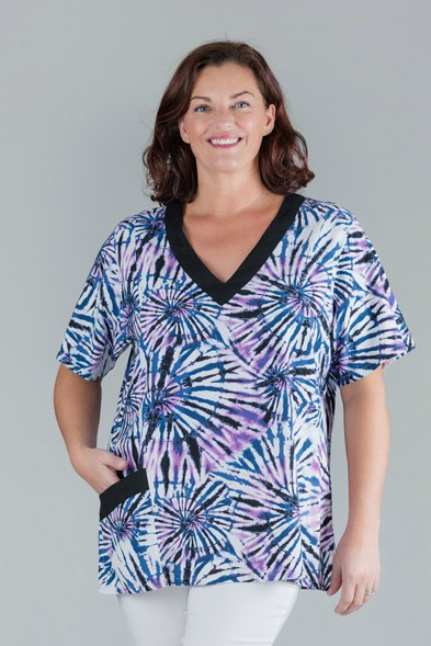 Tracy - Short Sleeved Purple Printed Linen Top